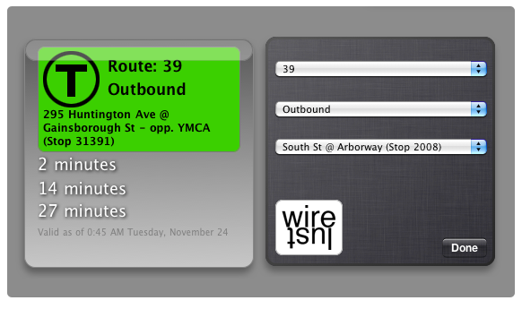 screenshot of MBTA Bus Tracker Widget